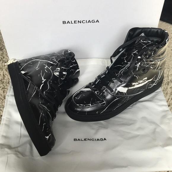 Balenciaga Marble Hightop Sneakers Size
